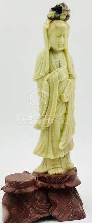 Chinese Figurine Women on Colored Stand, Soapstone