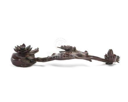 A Chinese carved hardwood ruyi scepter