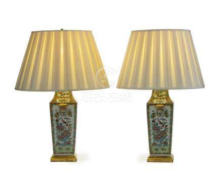 A pair of Chinese Rose Medallion lamps