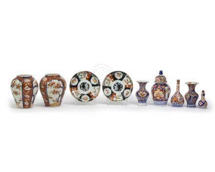 Nine Imari porcelain table items