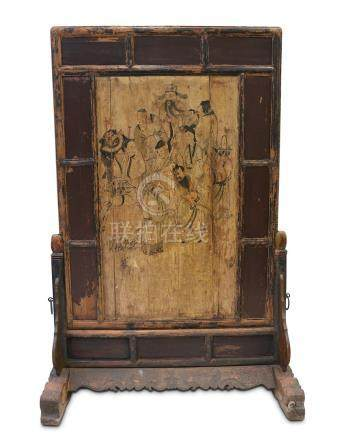 A LARGE CHINESE LACQUERED ROOM DIVIDER.