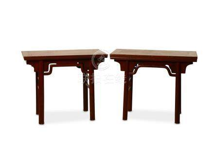 A PAIR OF CHINESE RED LACQUERED ALTAR TABLES.