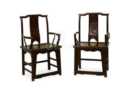 A PAIR OF CHINESE HARDWOOD ARM CHAIRS,