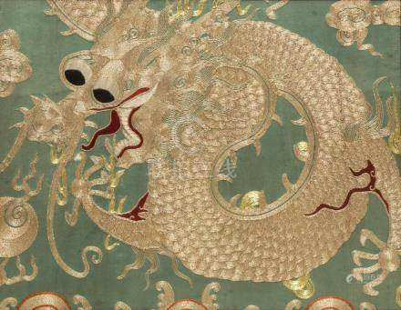 FRAMED CHINESE DRAGON COUCHED EMBROIDERY ON SILK