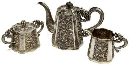 (3) ORNATE CHINESE EXPORT SILVER DRAGON TEA SET