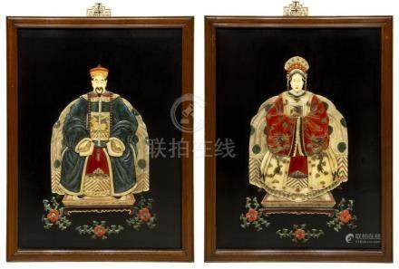 (2) CHINESE HARDSTONE & BONE ANCESTOR PORTRAITS