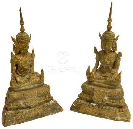 (2) THAI GILT BRONZE RATTANAKOSIN STYLE BUDDHAS