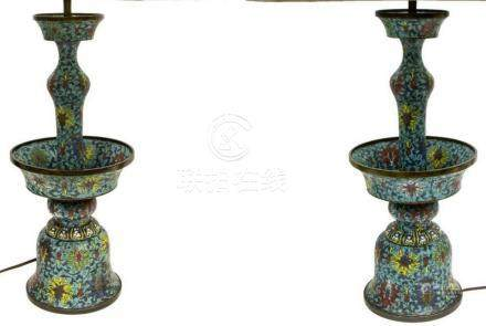 (2) CHINESE CLOISONNE ENAMEL CANDLESTICK LAMPS