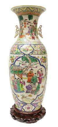 CHINESE FAMILLE ROSE PORCELAIN VASE W/ WOOD STAND