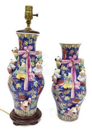 (2) CHINESE PORCELAIN POLYCHROME VASES / LAMP