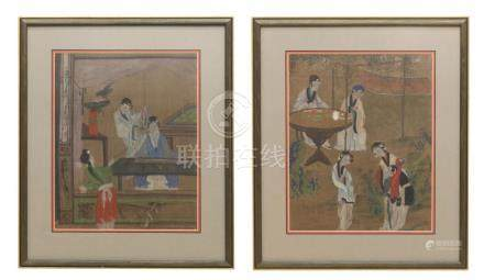 (2) FRAMED CHINESE INK & GOUACHE PAINTINGS ON SILK