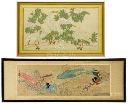 (2) FRAMED CHINESE SILK PAINTINGS, WOMEN & EGRETS