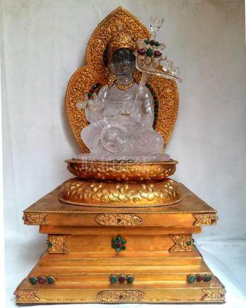 Crystal Padamasambhava with Fire Gold plated