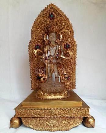 Crystal Avalokitesvara with Fire Gold plated