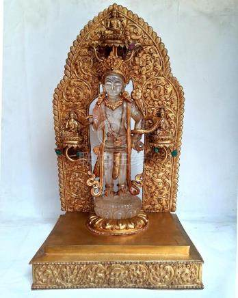 Crystal Padmapani Lokeshvara with Gold plated