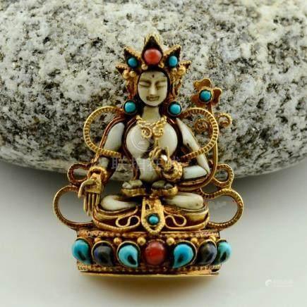 White Tara Buddhist Ritual Sacred Ghau Prayer Box
