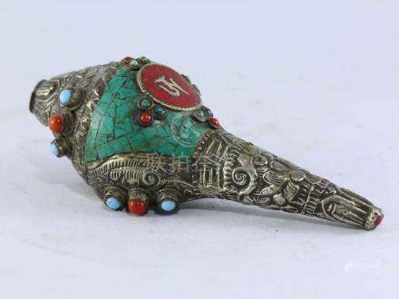 White Metal Conch Shell [Shankh] with Stone Setting