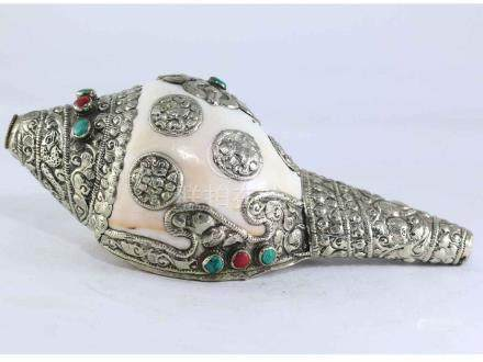 White Metal conch Shell with Astha Mangal