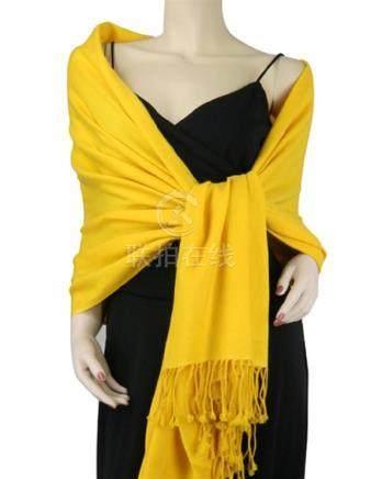 Pure Pashmina Shawl Yellow 3 Ply 2
