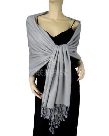 Pure Pashmina Shawl Silver Grey 2 2