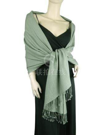 Pure Pashmina Shawl Sage Green 2 2