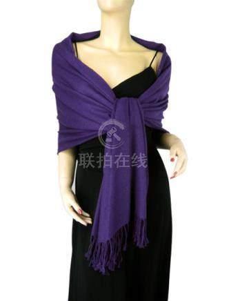 Pure Pashmina Shawl Royal Purple 3 Ply 2
