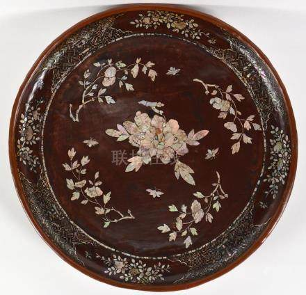 Antique Chinese Mother of Pearl Lacquered Tray