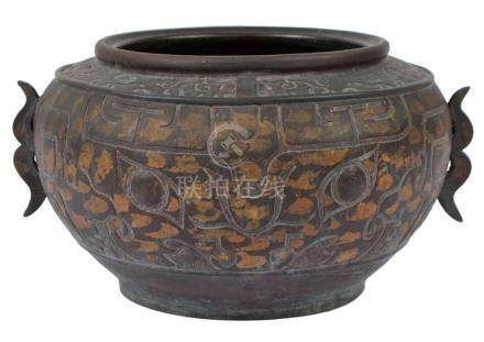Antique Chinese Bronze Gold Splash Censer