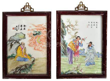 Pair of Chinese Hand Painted Plaques