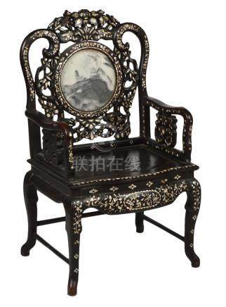 Chinese Chair with MOP Inlays & Marble Insert