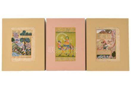 3 Indian Mughal 19th C. Watercolor Manuscripts
