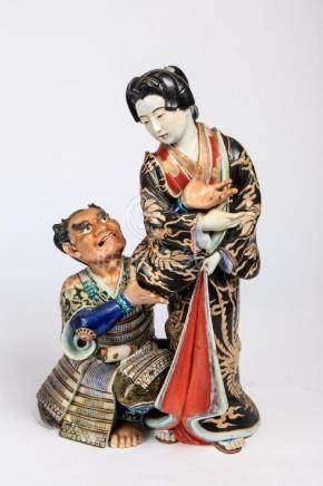 JAPANESE PORCELAIN SAMURAI & GEISHA FIGURAL GROUP
