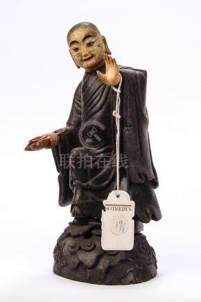 ANTIQUE CHINESE CARVED EBONY MONK