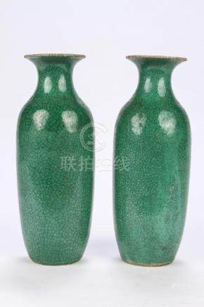 PAIR OF CHINESE GLAZED EARTHENWARE VASES