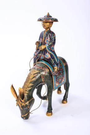 JAPANESE CLOISONNE FIGURINE OF A MAN ON HORSEBACK