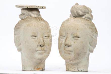 (2) LIFE-SIZE ASIAN FEMALE HEADS in PORCELAIN