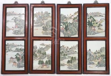 SET OF (8) RETANGULAR CHINESE PORCELAIN PANELS