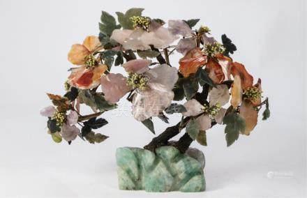 CHINESE JADE AND HARDSTONE FLOWERING TREE