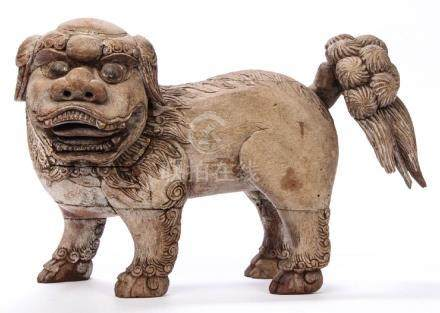 CARVED AND PAINTED CHINESE FOO DOG