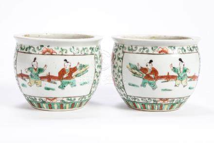 PAIR OF (19th c) CHINESE PORCELAIN POTS