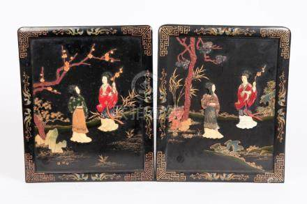 (2) CHINESE LACQUER PANELS INLAID with HARDSTONE