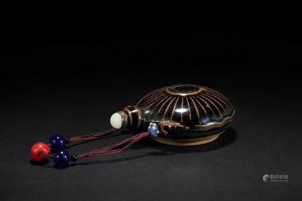 清 黑釉瓷小水瓶