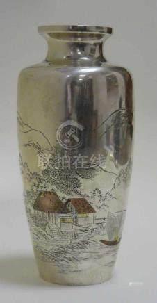 Silber - Vase Meji - ZeitJapan, Vase Silber, wohl erstes Viertel 20. Jahrhundert, Meiji-Ära. Auf der