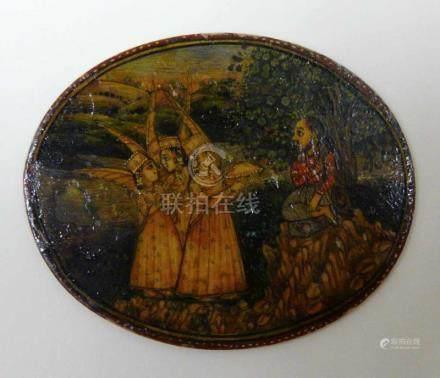 Indische MiniaturmalereiIndien, wohl um 1800. Auf dünnem, querovalem Beinplättchen beidseitig