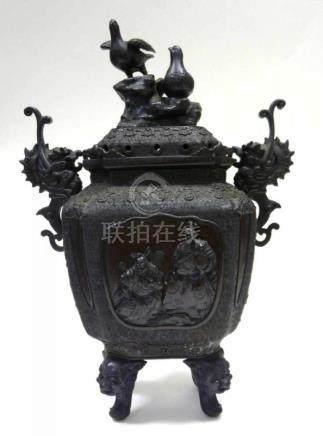 Großes Räuchergefäß ChinaChina, Bronze, seit ca. 1860 in Familienbesitz. Großer Weihrauchbrenner auf