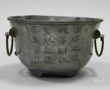 Chinesisches Zinn - Henkelgefäß Doppelhenkeltopf China, Zinn und Messing, 1890er Jahre.