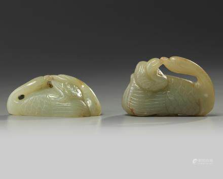 Two Chinese celadon jade geese carvings