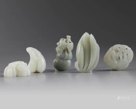 A group of five Chinese 'plants and vegetables' carvings