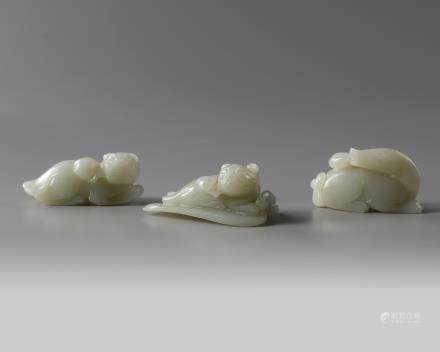 A group of three Chinese celadon jade animals