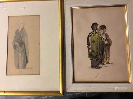 Two watercolours representing ottoman ladies